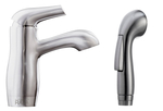 Bathroom faucet with bide, brushed steel