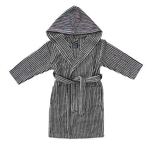 Children's hooded bathrobe, black/ sand
