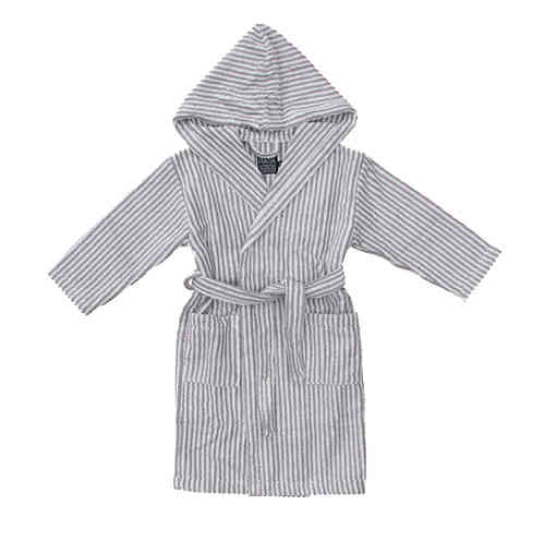 Children's hooded bathrobe, grey/ white
