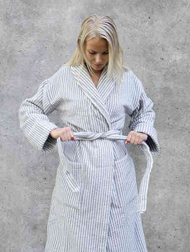 Ratia bathrobe, grey/ white