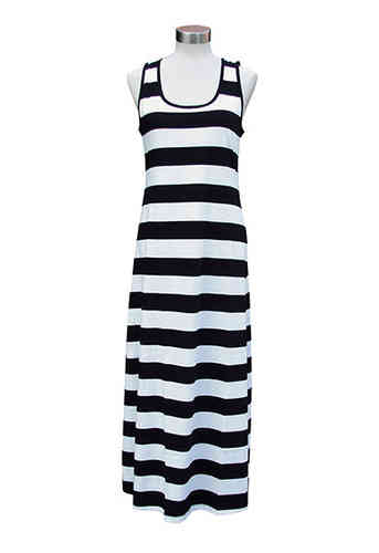 Women's long sleeveless nightdress, black/ white