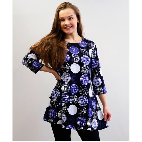 Tunic, multicolour blue/ black/ white