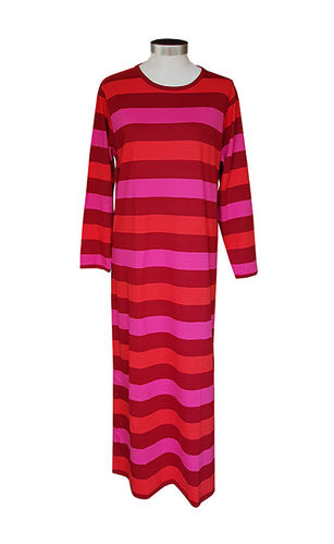 Women's long nightdress, red stripe