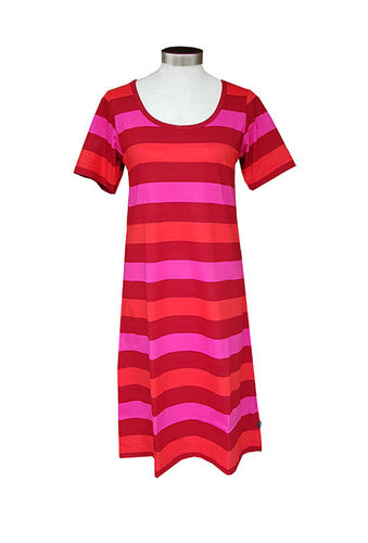 Women's nightdress, red stripe
