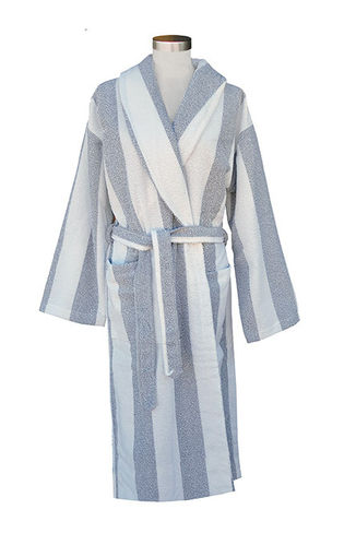 Ratia bathrobe, white/ grey