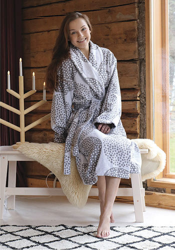 Women's bathrobe, grey/ white