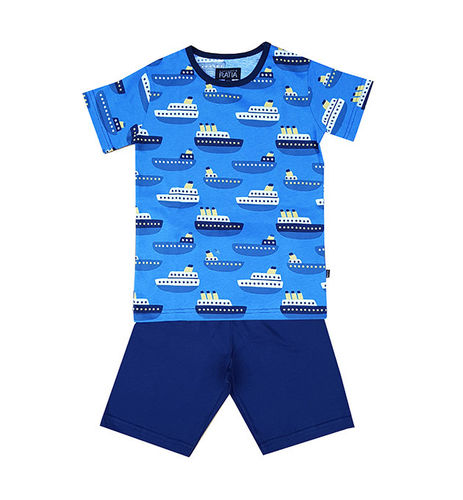 Children's shorts pajamas, blue/ dark blue/ white
