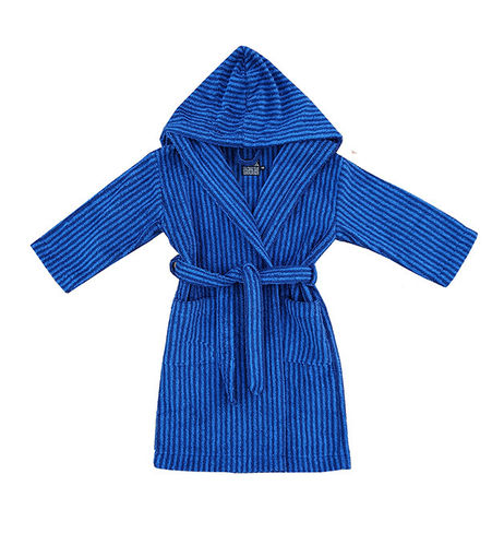 Children's hooded bathrobe, blue/ dark blue