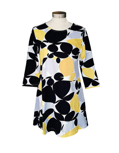 Tunic, black/ grey/ white/ yellow