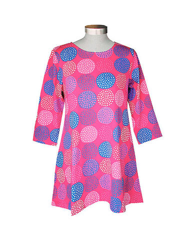 Tunic, pink/ blue/ white