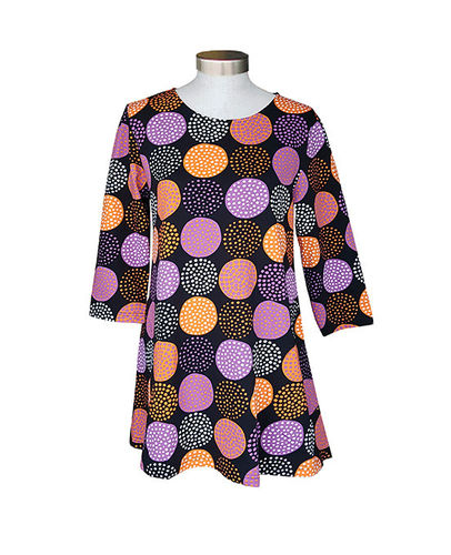 Tunic, black/ orange/ white/ lilac