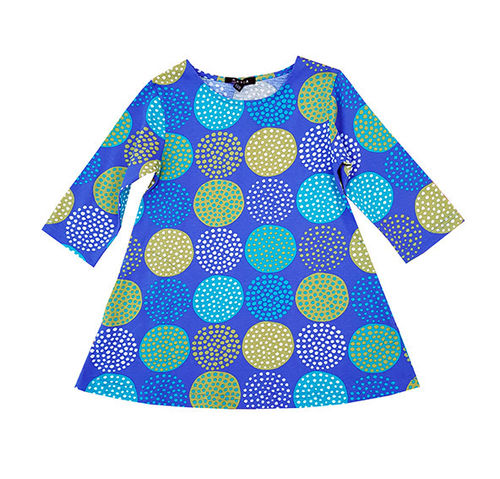 Children's tunic, blue/ turquoise/ green/ white