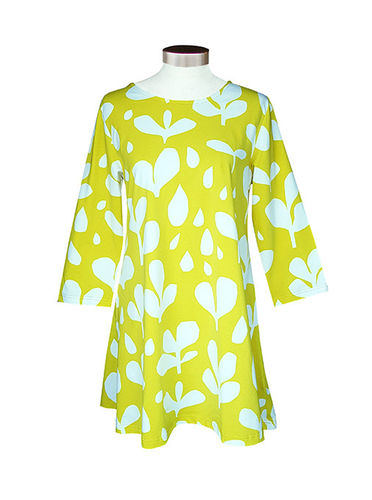 Tunic, yellow/ white