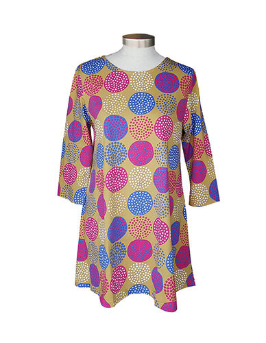 Tunic, okra/ blue/ pink/ white