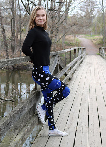 Leggings, black/ blue/ white