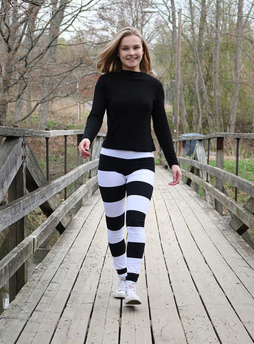 Leggings, black/ white