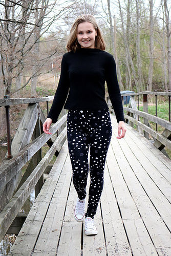 Leggings, black/white