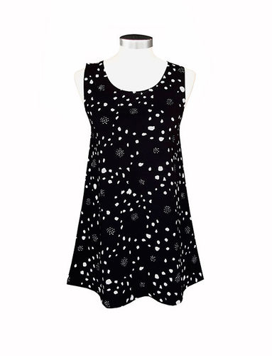 Women's sleeveless tricot shirt, black/ white