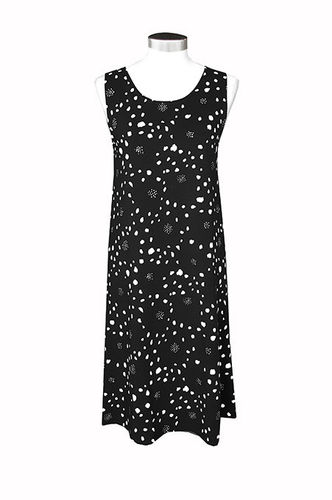 Women's sleeveless tricot dress, black/ white