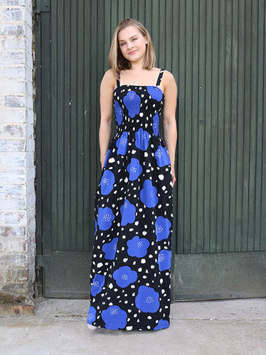 Tricot dress, black/ blue/ white
