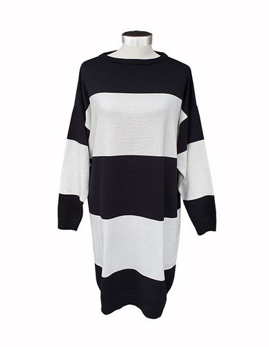 Knitted tunic, black/white