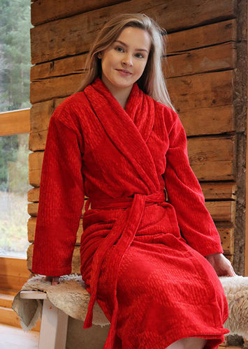 Women's bathrobe, red/ red
