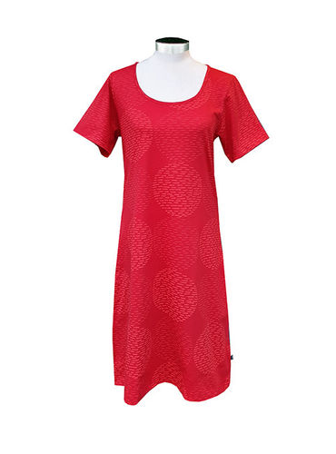 Women's short nightdress, red/ red