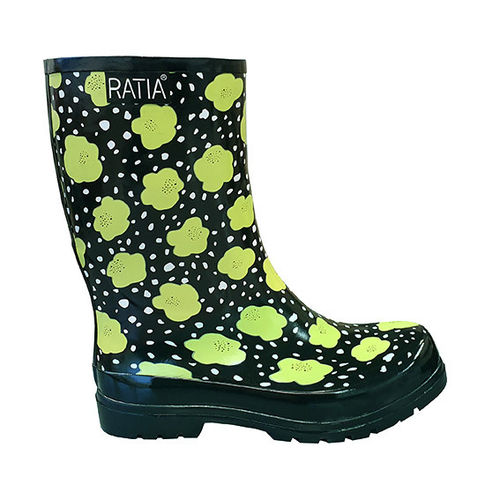 Rubber boots, black/ lime