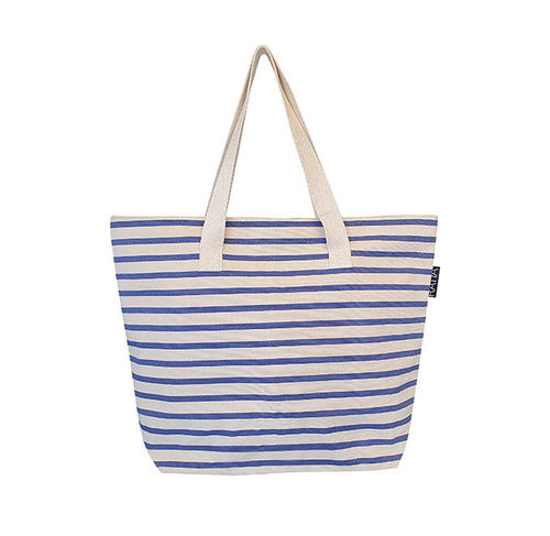 Canvas bag, blue/ sand
